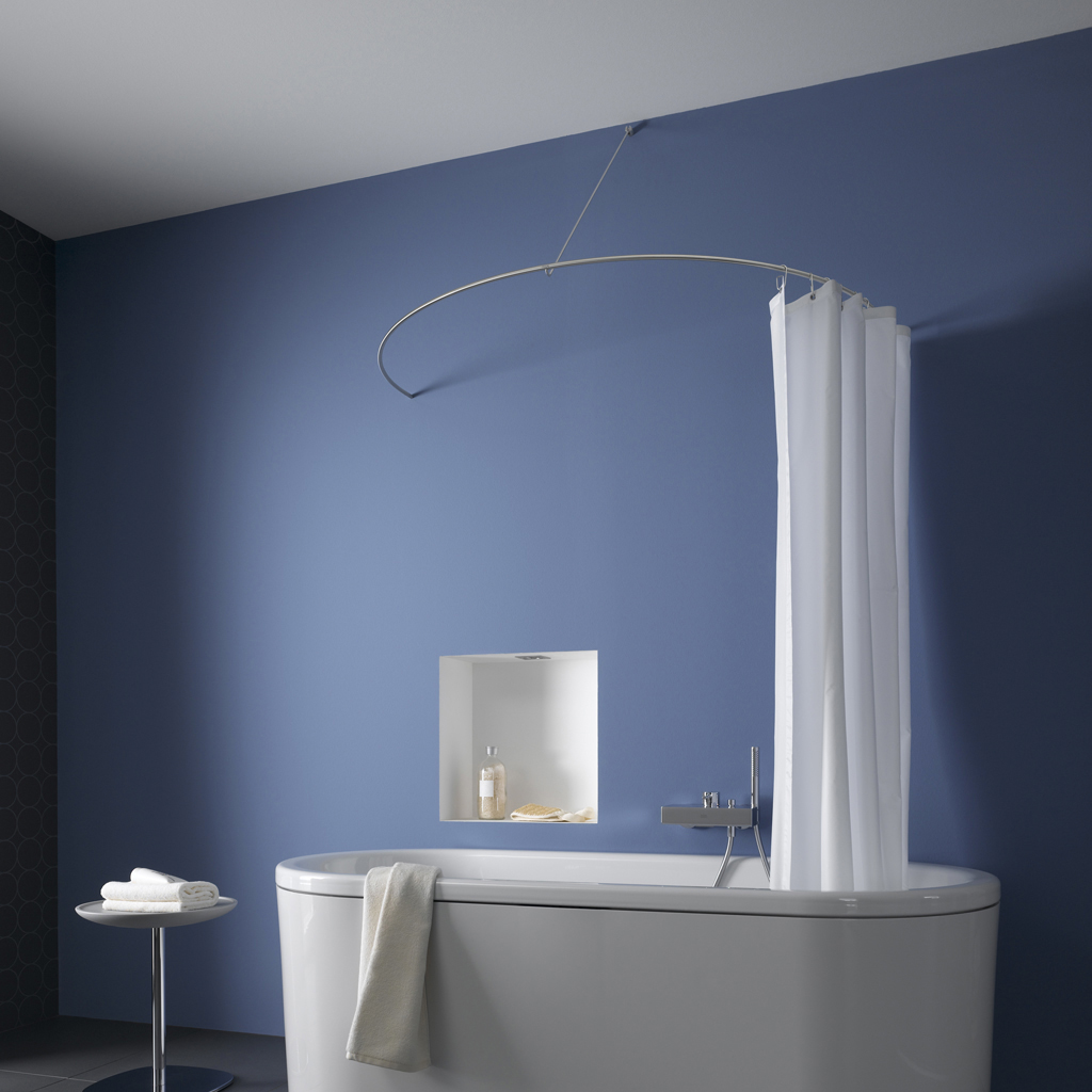 Curved Shower Curtain Rod As A Semi-circle By Phos Design