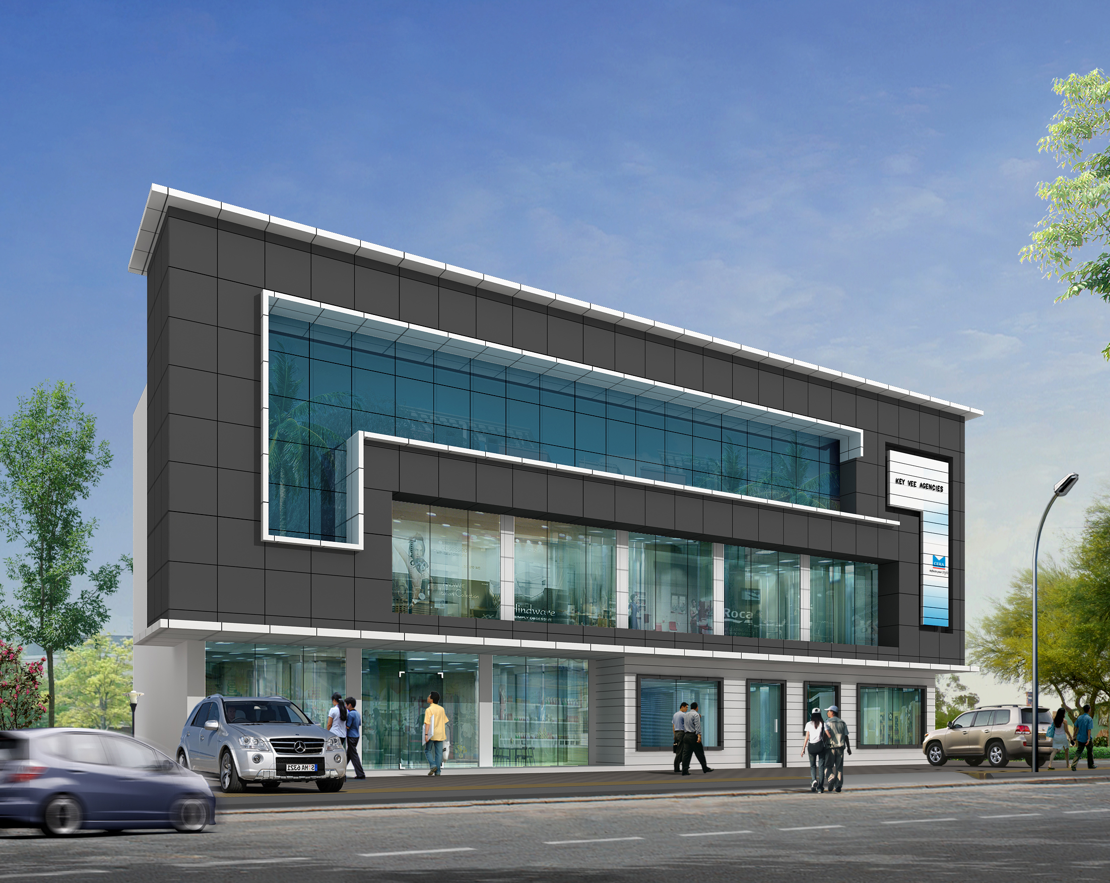 Sanitary showroom geo arch architectural solutions archello for Modern showroom exterior design