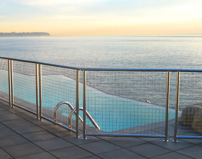 Private residence deck and pool railing banker wire