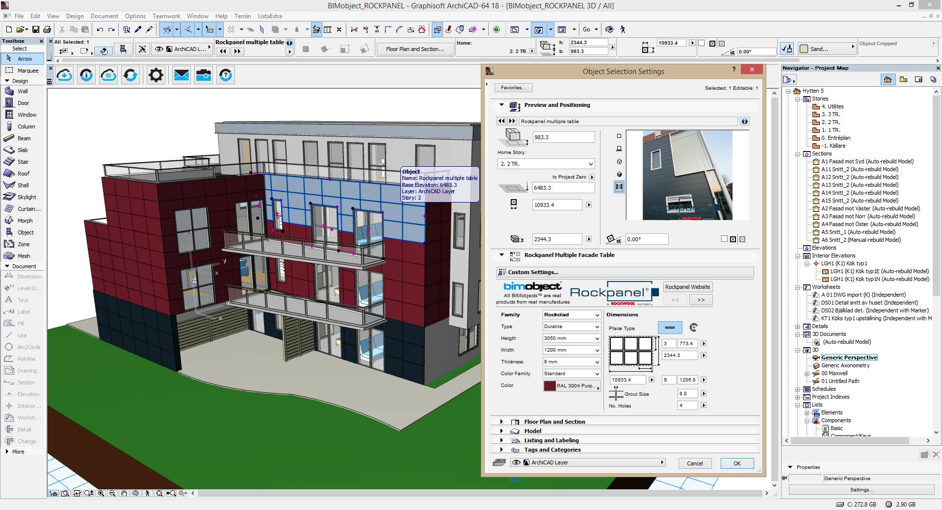BIM data files for all ROCKPANEL® façade panels