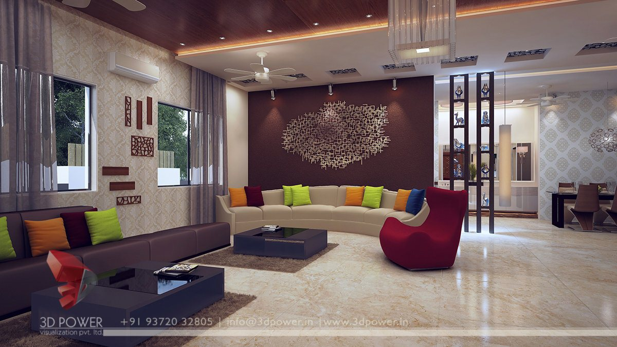 Harmonious interiors 3d power visualization pvt ltd - Modern family room design ideas ...