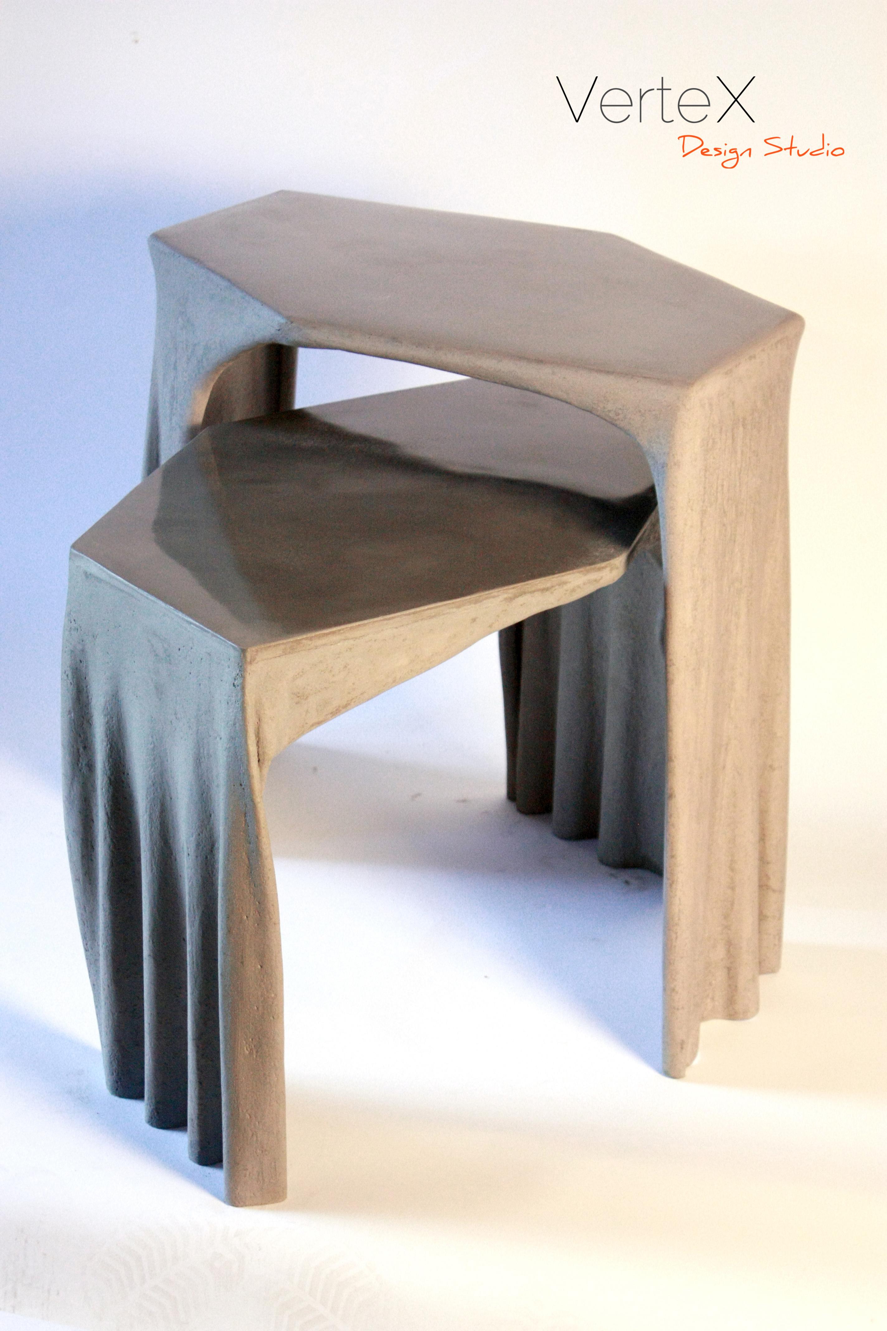 Fabric concrete coffee table by vertex design studio archello