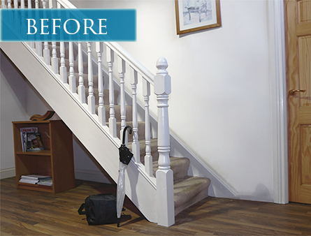 Before picture: outdated staircase design
