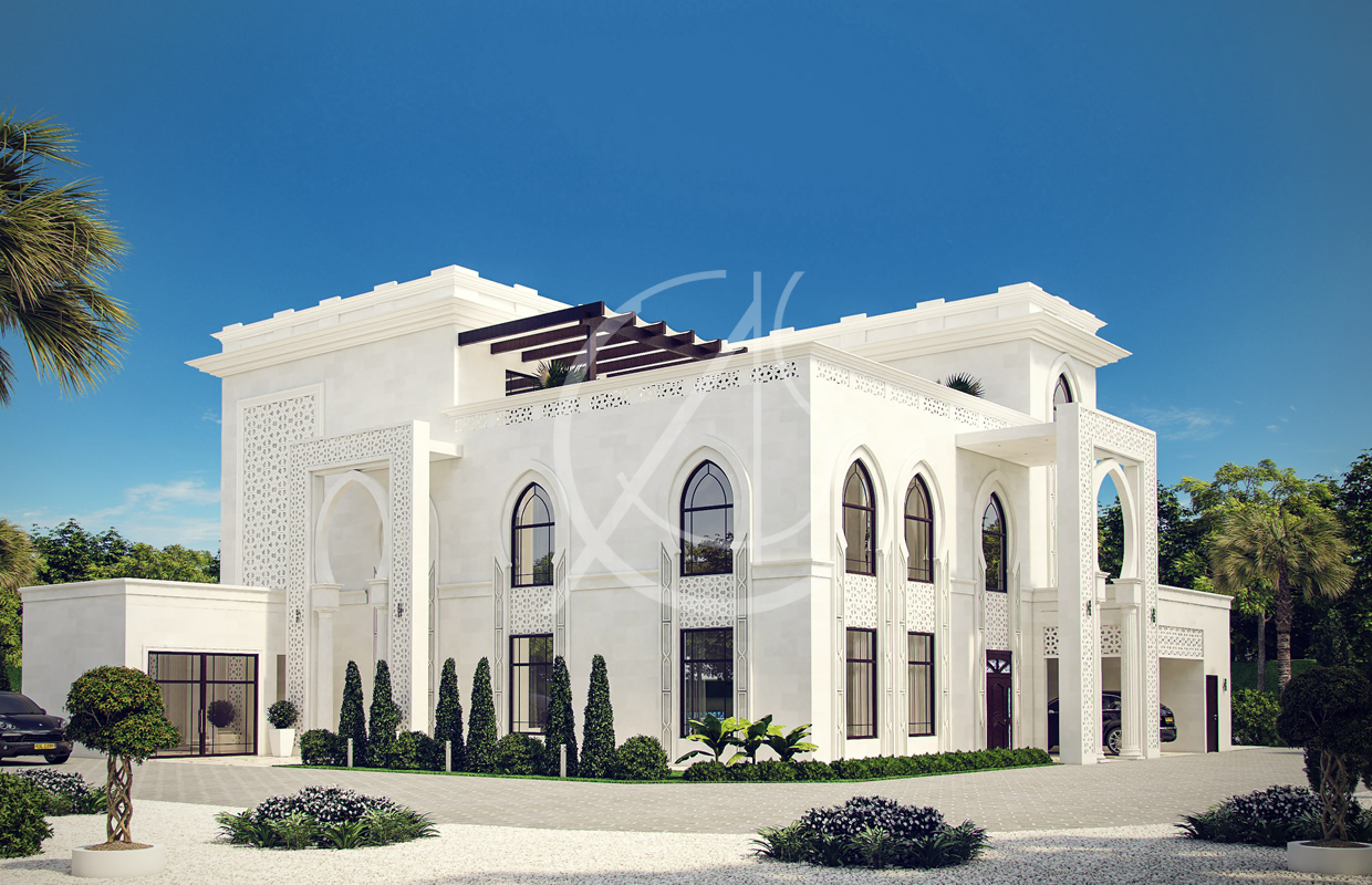 White modern islamic villa exterior design comelite for Villa architect