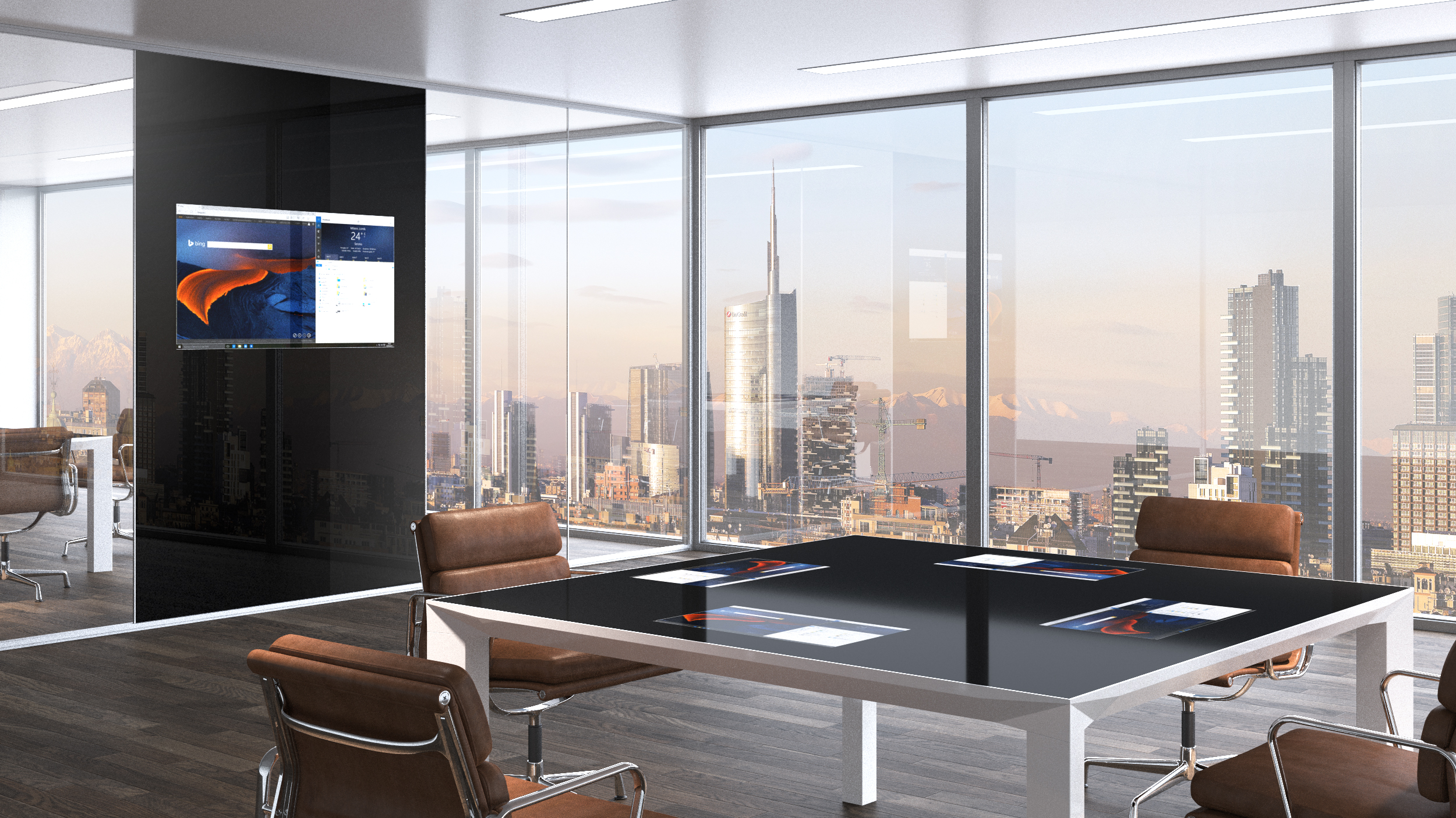 Smart wall and smart desk by level office landscape archello for Mobili design on line