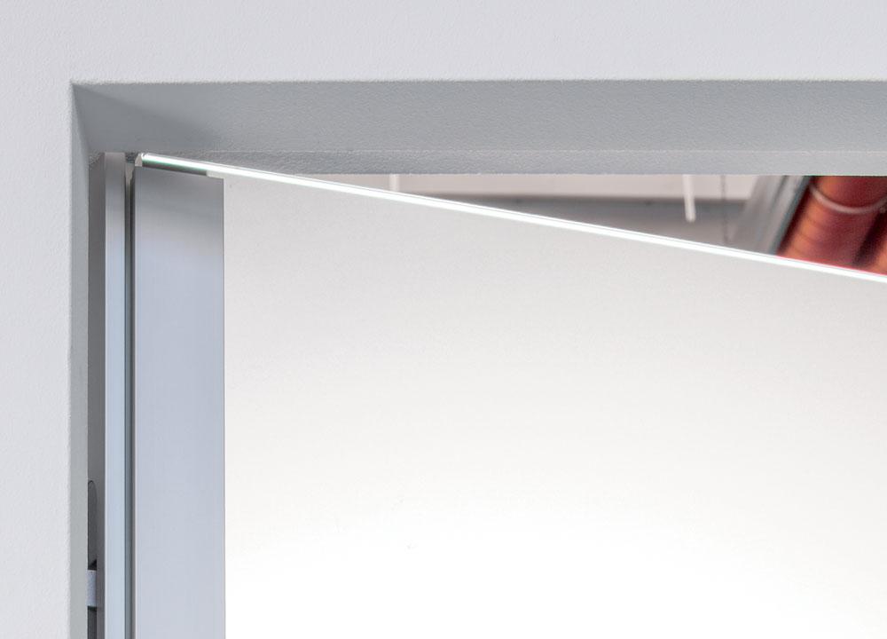hinged glass door