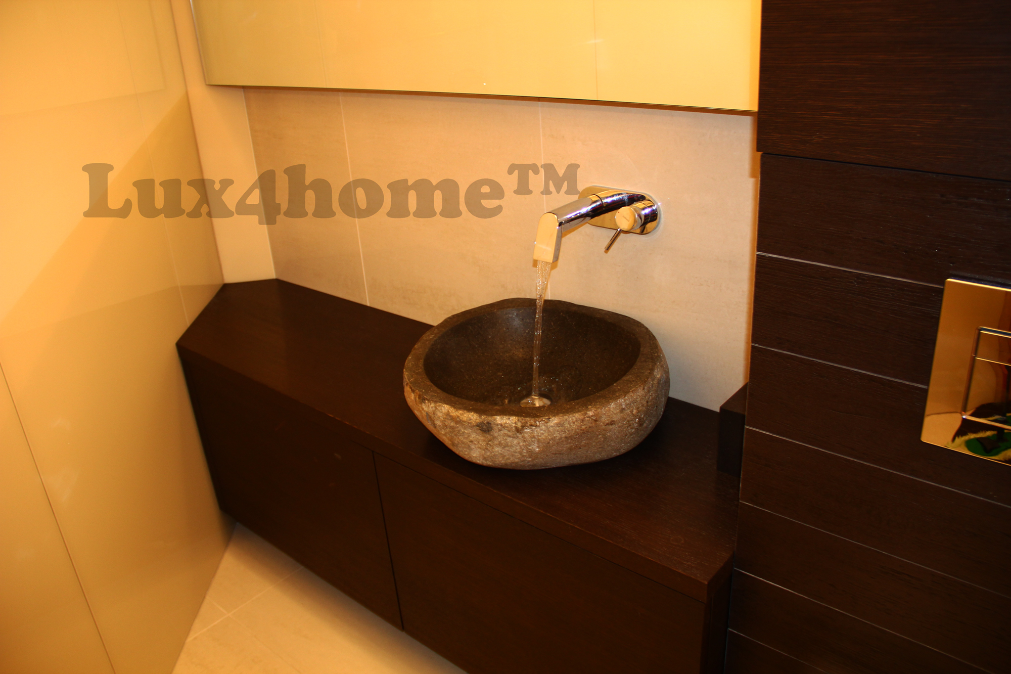 River stone vessel sink bathroom natural stone sinks in bathroom