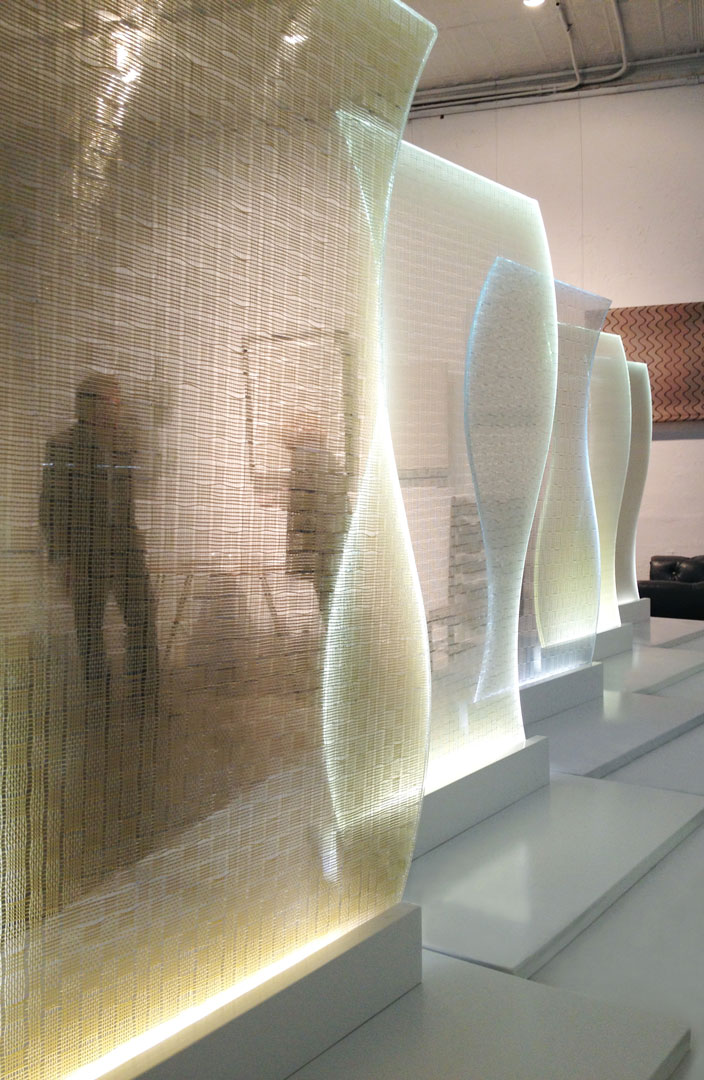 """Light sculptures created from the """"KOVA for Bendheim"""" Glass Collection."""