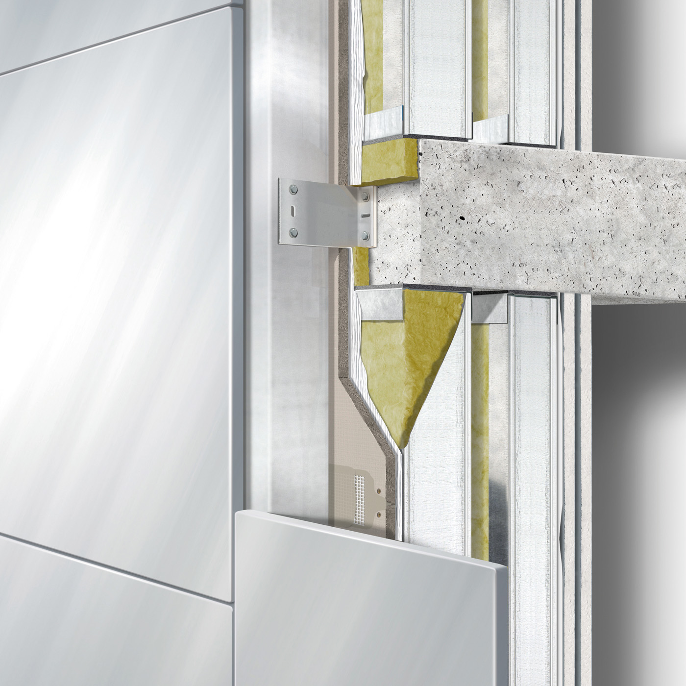 Ventilated construction: Exterior wall building envelope between floors behind cladding double stud with intermediate board