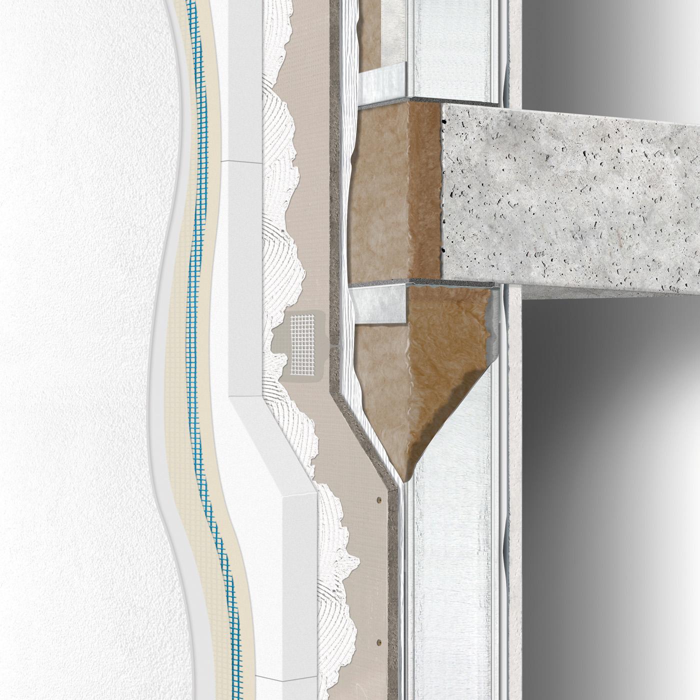 Exterior wall construction between floors with ETICS single stud