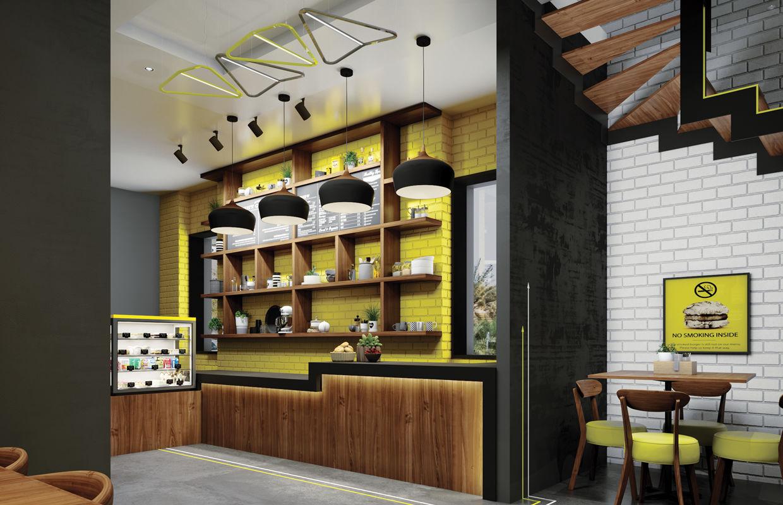 Modern Fast Food Restaurant Interior Design Comelite Architecture Structure And Interior Design Media Renders 4 Archello