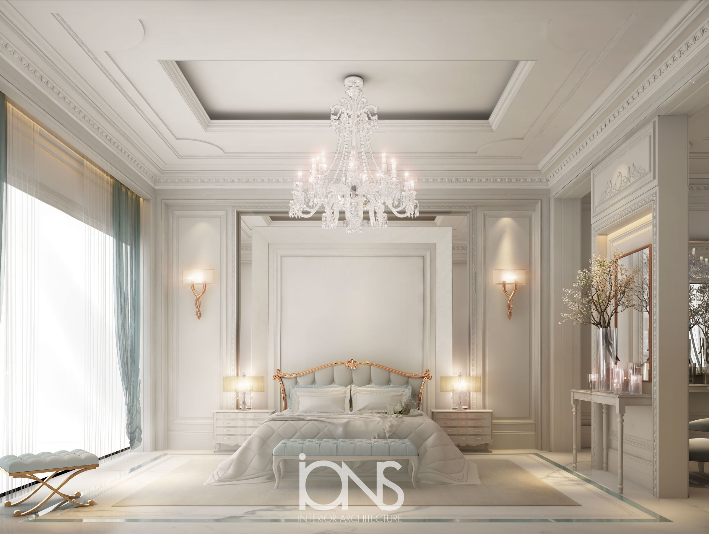 Ions Interior Design Dubai elegant neo classic master bedroom design | ions design
