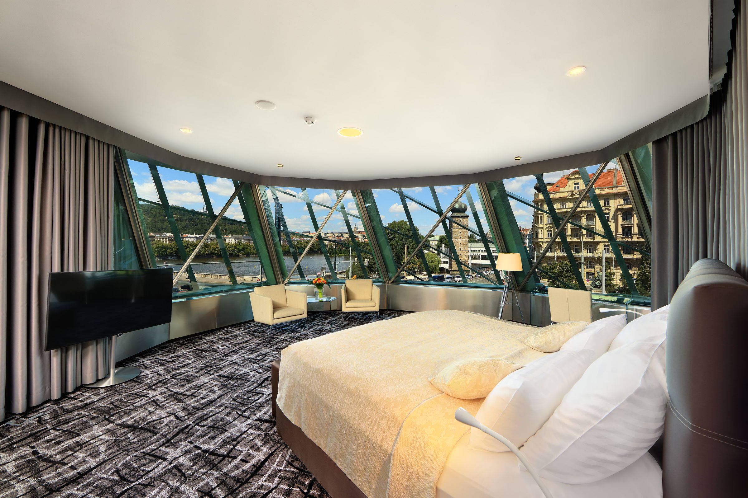 Most rooms have a unique view of Prague Castle, the Vltava River and the Old Town.