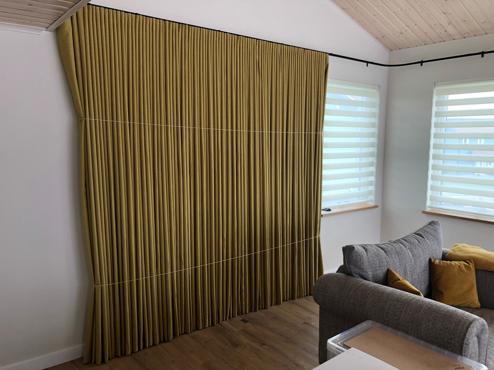 14m Electric Curtain Track With Iris Blackout Wave Direct Fabrics Archello
