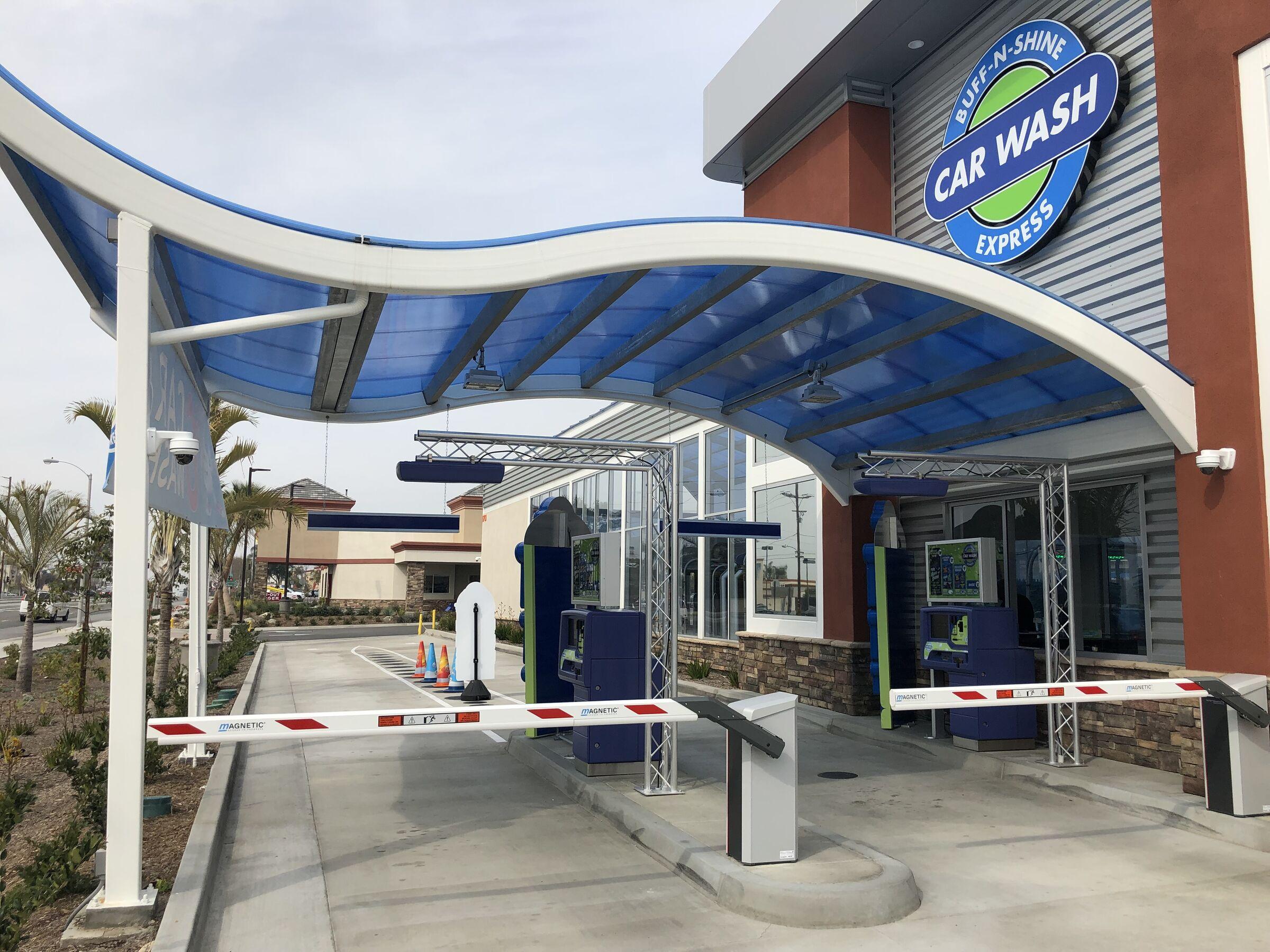 Buff-N-Shine Car Wash Roof & Entrance | Polygal USA | Archello