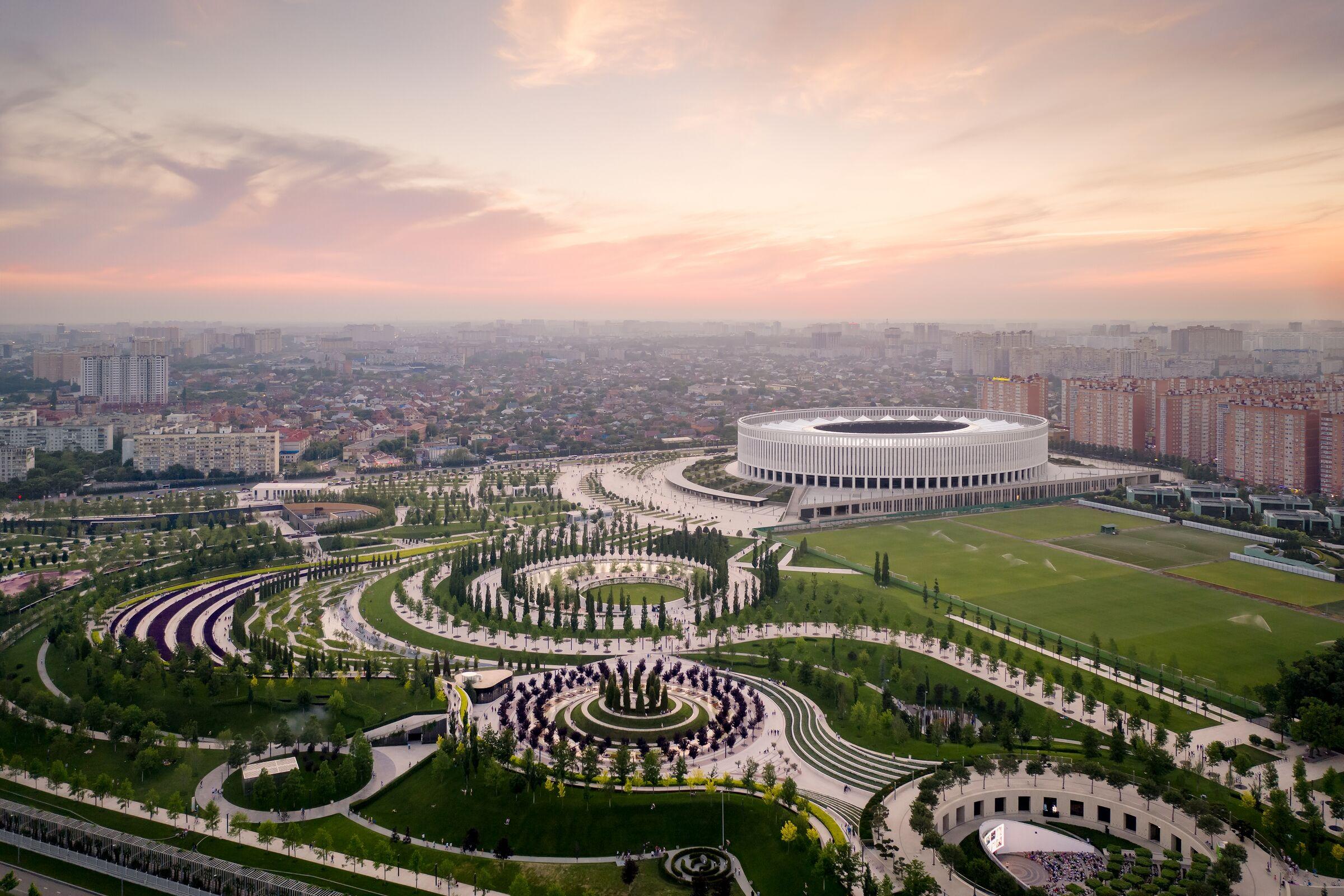 Park At Krasnodar Stadium Gmp Von Gerkan Marg And Partners Architects Archello