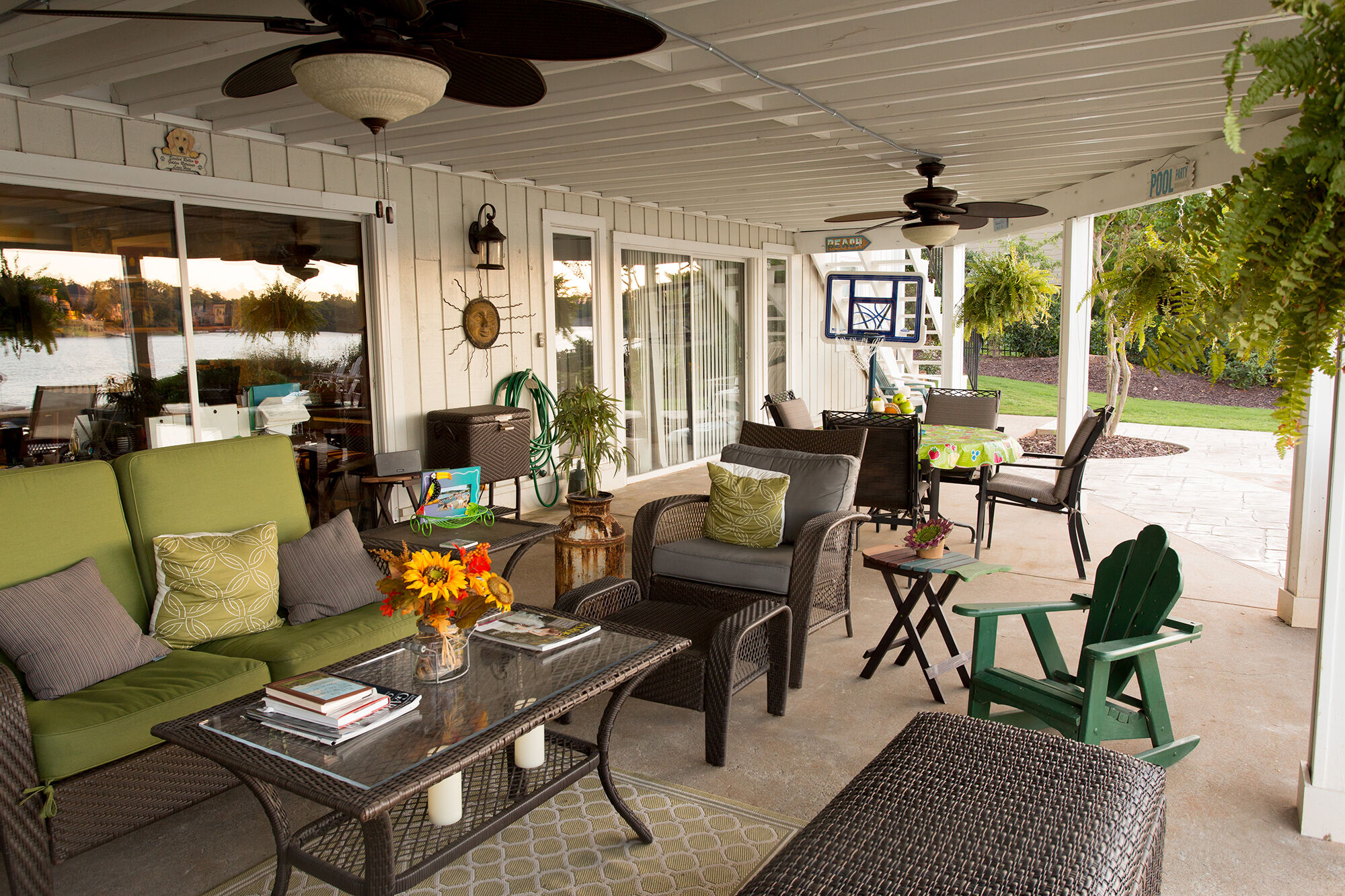 The dry-below area created by Duradek served the homeowner's as a poolside entertainment space.