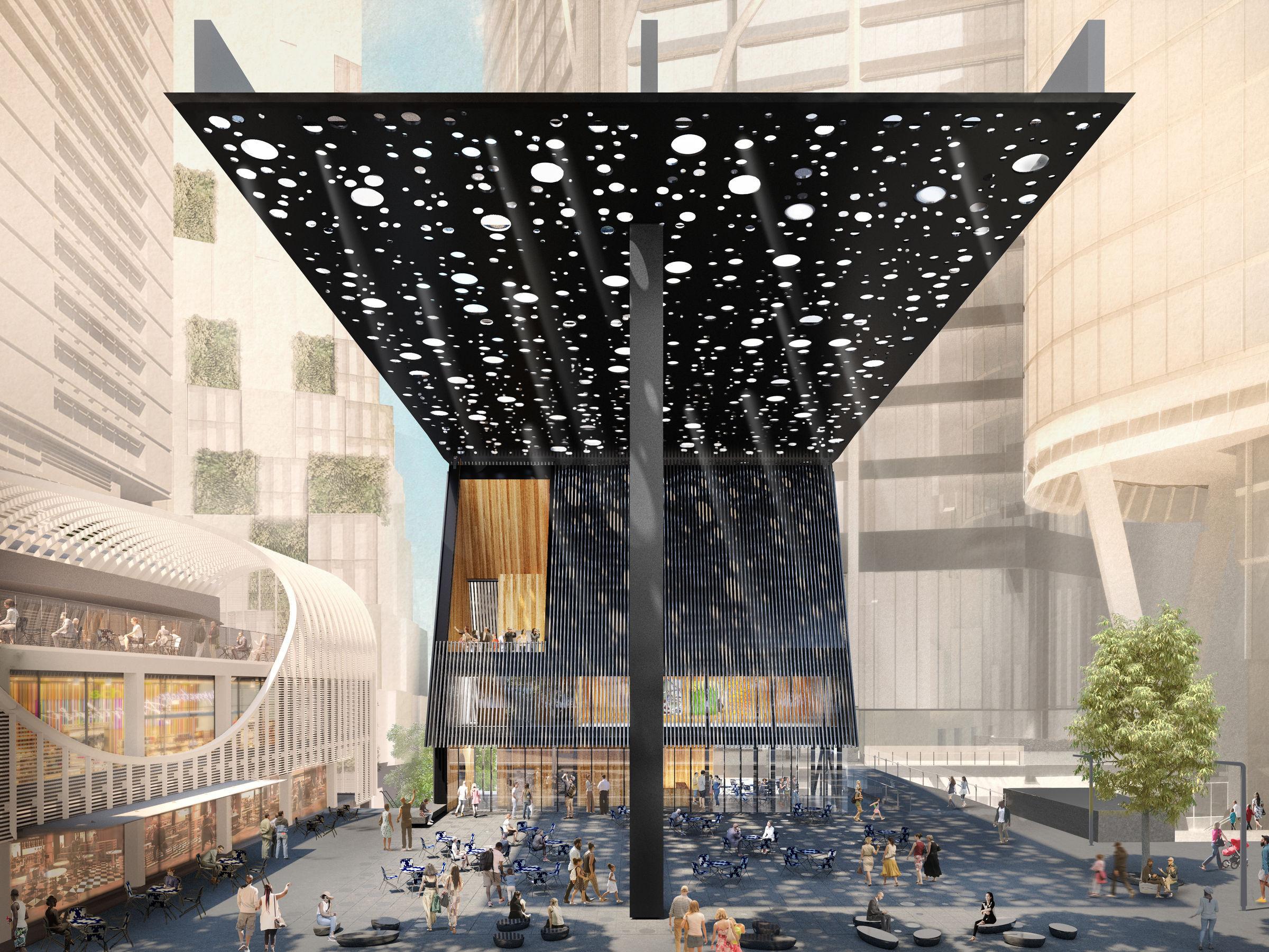 adjaye david plaza sydney associates architecture canopy sir boyd daniel perforated obe gold royal circular giant plans awarded medal 2021