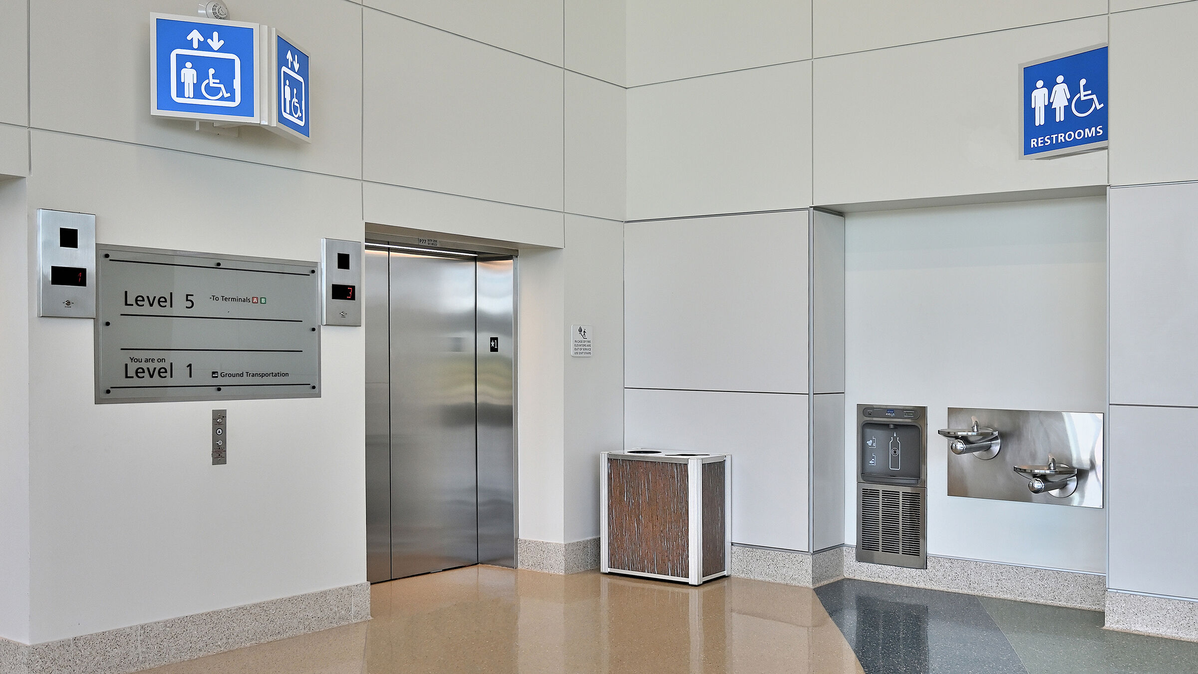 Modern Airport 3form Commercial  Combination Recycling Trash Receptacle 1893.jpg