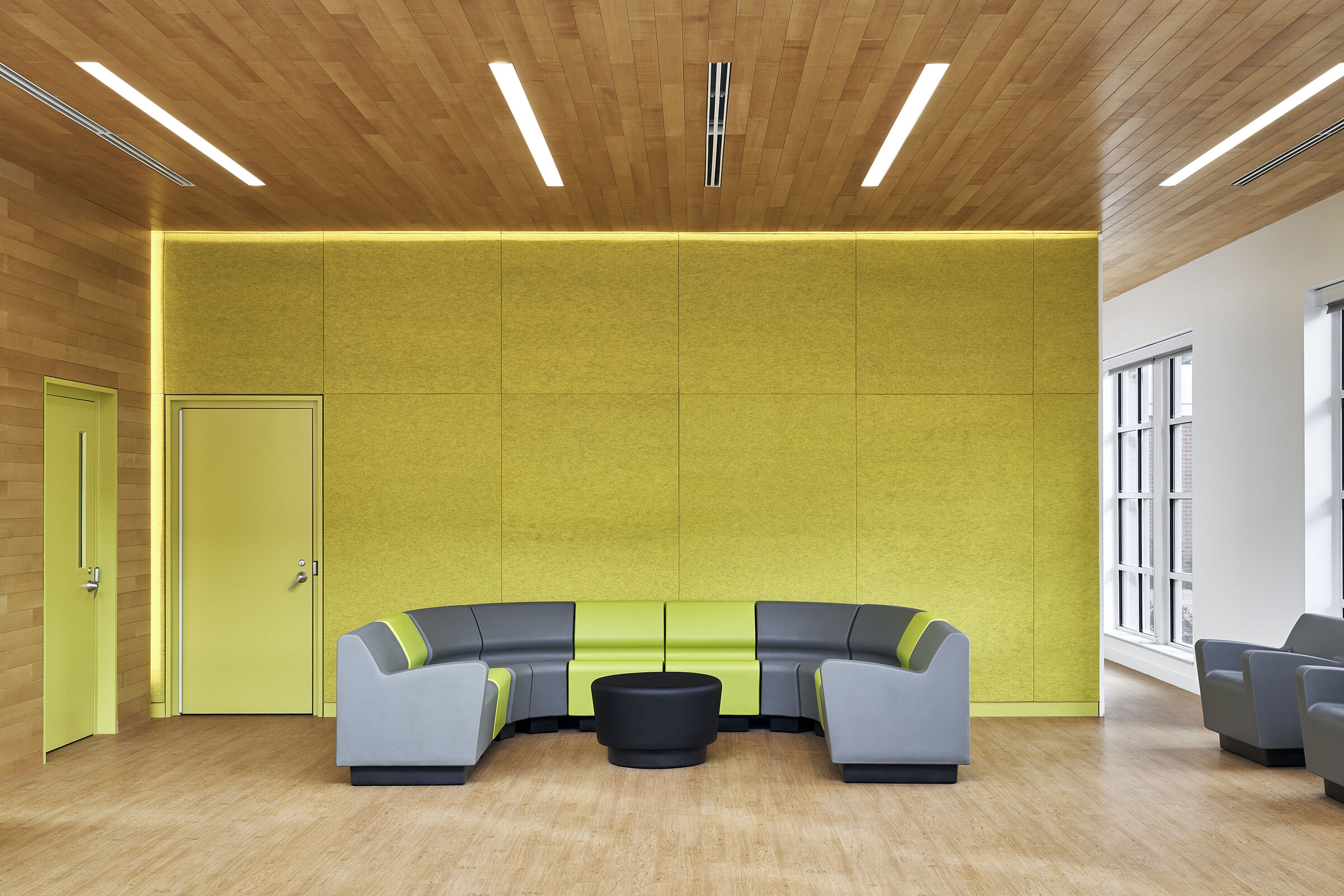 Colorful acoustic, feature wall and resilient furniture.