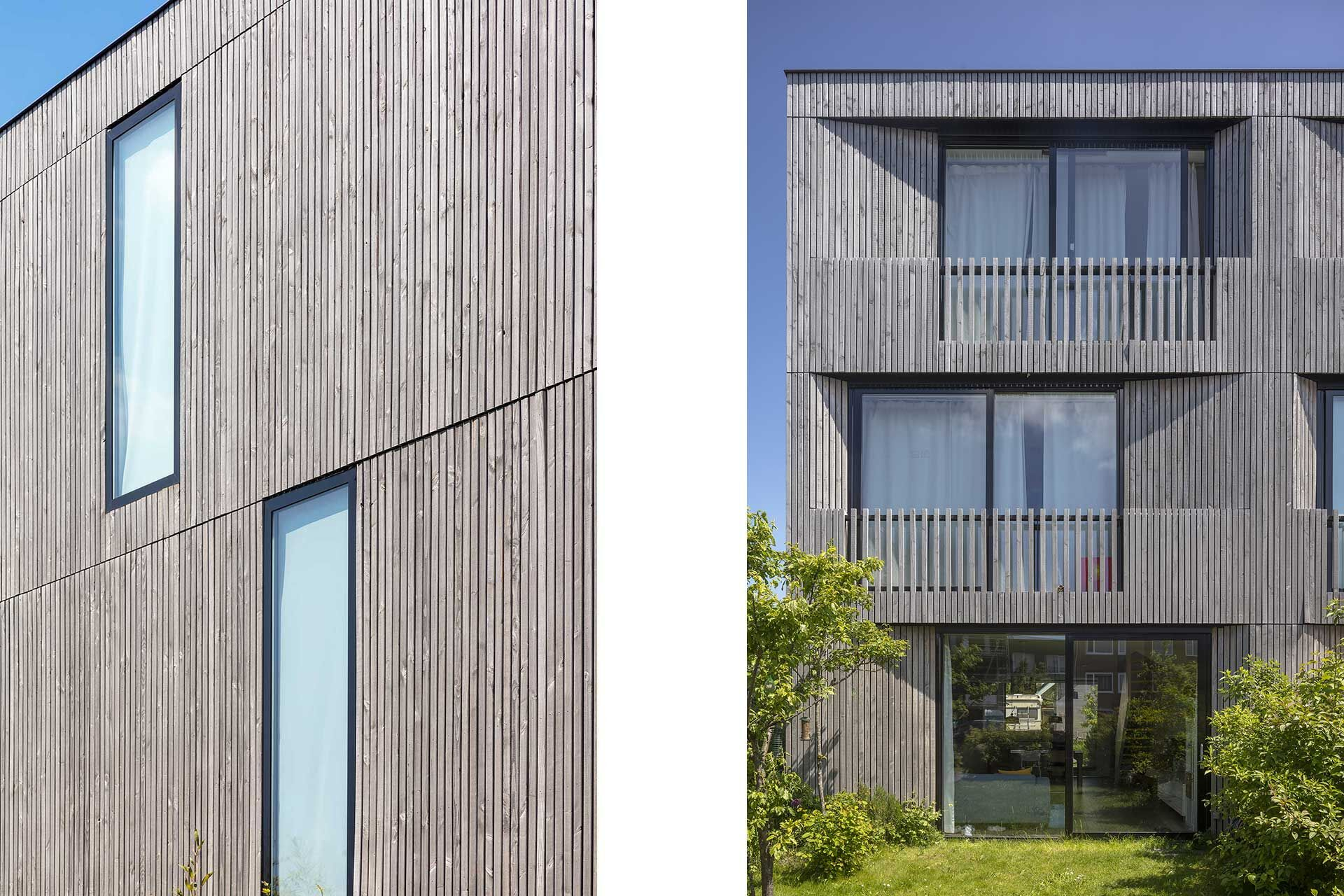 Side and rear facade